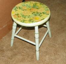 White Green Flower Print Stool Footstool  (ST96) - $125.00
