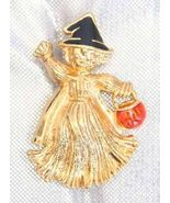 Charming Avon Enamel Halloween Straw Witch Gold... - $14.95
