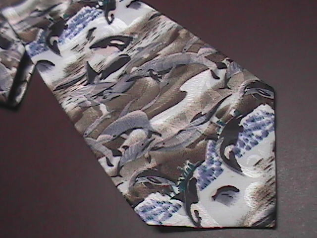 Lost Kingdom Neck Tie Breaching Whales Blues and Greys