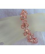 Rose Crystal Bracelet Pink Faceted Gemstone Glass Bead Silve - $18.00