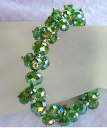 Periodot Crystal Jewelry Bracelet Aurora Borealis Glass Beads Silver Balls - $16.99