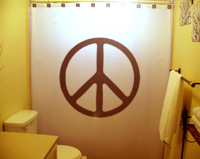 SHOWER CURTAIN sign Peace Symbol DAC CND Gerald Holtom