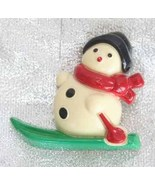 Festive Avon Christmas Snowman on Skiis Brooch ... - $10.95