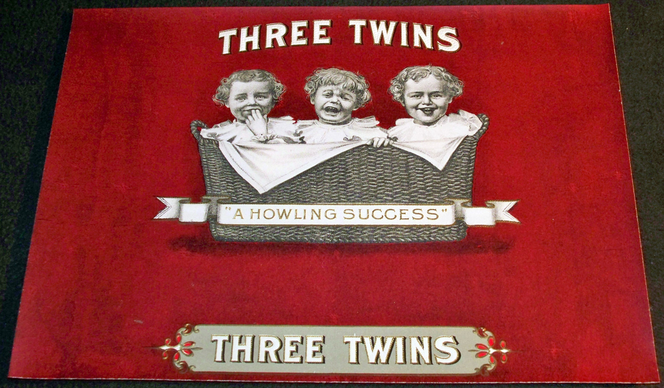 Three Twins Embossed Inner Cigar Label, 1920's