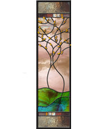 Stained Glass Window Panel Inertwined trees sidelight couple anniversary... - $177.21