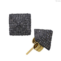 PYRAMID Design Sterling Silver Pave Diamond Stud Earrings 14k Gold Vintage Style - $649.59