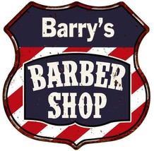 Barry's Barber Shop Personalized Shield Metal Sign Hair Gift 211110020143 - €21,10 EUR