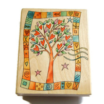 Uptown Heart Tree L26027 Large Rubber Stamp Wood Mounted Primitive Count... - $14.00