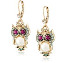 Betsey Johnson Pearl Critters Owl Drop Earrings - $32.00
