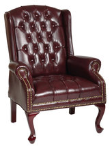Oxblood Vinyl Tufted Back Queen Anne Wing Back Lounge Traditional Chair - $284.99