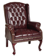Oxblood Vinyl Tufted Back Queen Anne Wing Back ... - $284.99