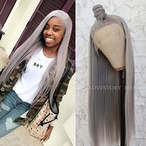 Lovestory Long Straight Synthetic Lace Front Wigs Heat Resistant Gray Wig Natura image 4