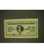 1963 First National City Travelers Checks Ad - New York World's Fair - $14.99