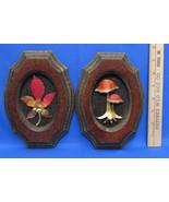 Vintage Pair Set 2 Homco Picture Metal Art Wall Hangings Mushroom & Mapl... - $13.85