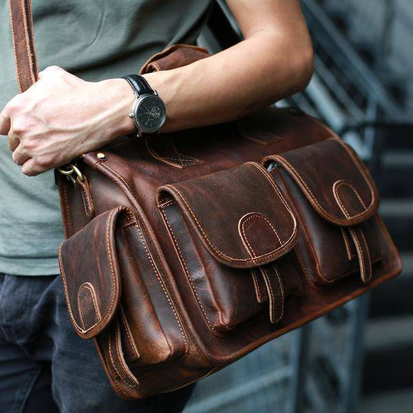 Sale, Horse Leather Messenger Bag, Handmade Briefcase, Men Tote Bag image 2