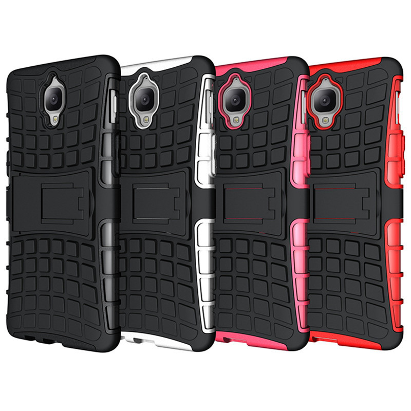 Dual Layer Shockproof Armor Kickstand Phone Cover Case for OnePlus 3 - Black