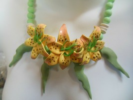 Vintage Yellow, Green, White Resin/Plastic Flowers Necklace - $45.00