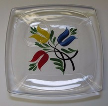 """2 Glass Breakfast or Luncheon Plates  7-1/2"""" Square - 3 Tulips Design!!!... - $3.94"""