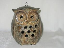 Ceramic Owl Candle Holder Vintage Hanging 2 sided Votive Vent Holes Brown - $39.59