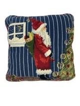 """Santa Christmas Needlepoint Pillow, Red Velvet Backing 13"""" x 13"""" Vintage... - $59.39"""