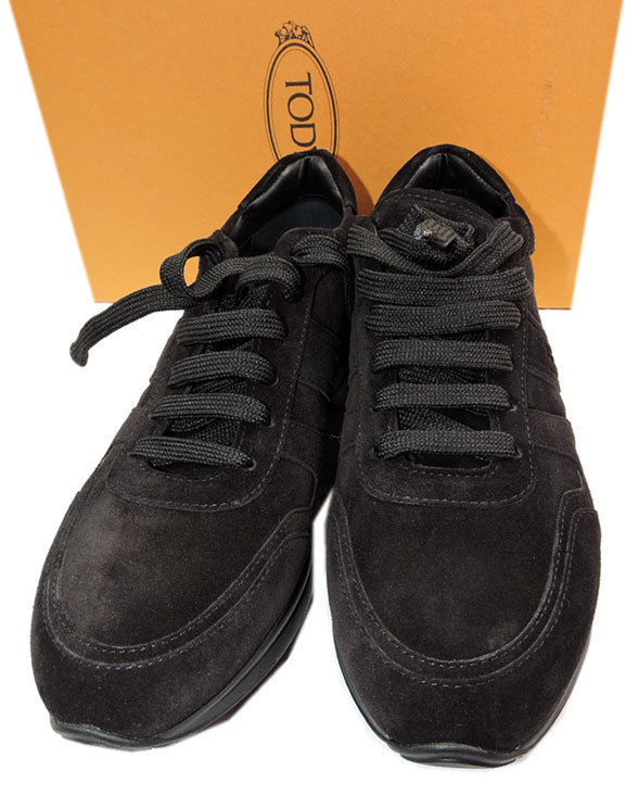 $525 Tod's Sport Sneaker Suede Black Tie Up Side Logo Athletic Shoe Flats 38