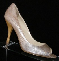 Enzo Angiolini 'Maylie' silver leather snake print textured peep toe heels 7.5M - $28.66