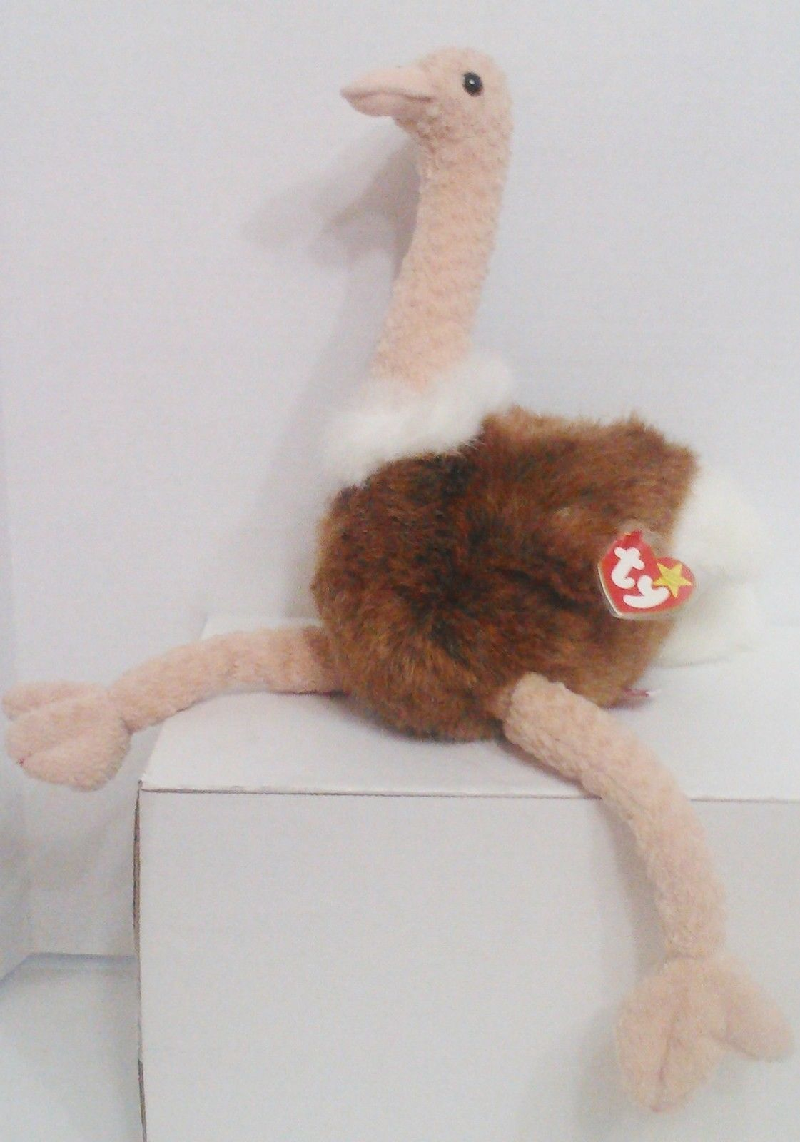 "1998 TY Beanie Buddies "" Stretch"" the Ostrich : PE Pellets : China Made {3152}"