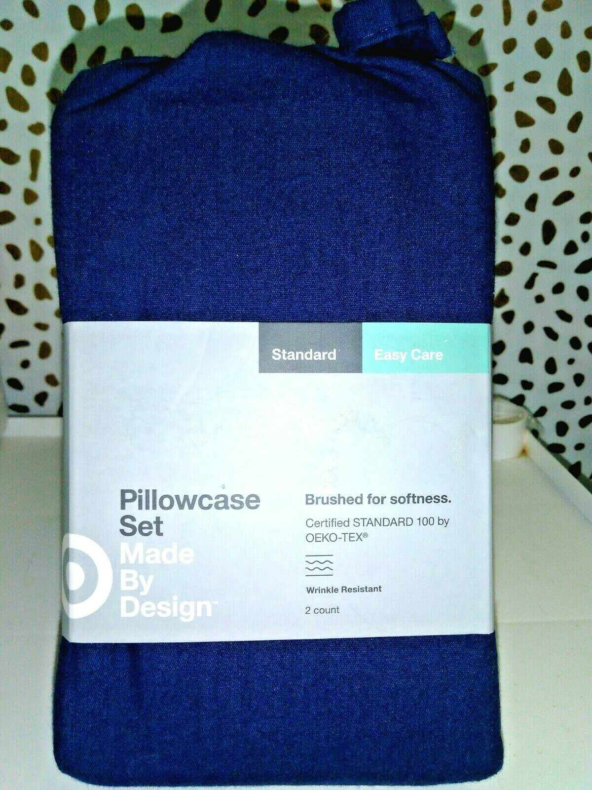 Made By Design Solid Easy Care Pillowcase Set STANDARD Blue Amethyst  -NEW!