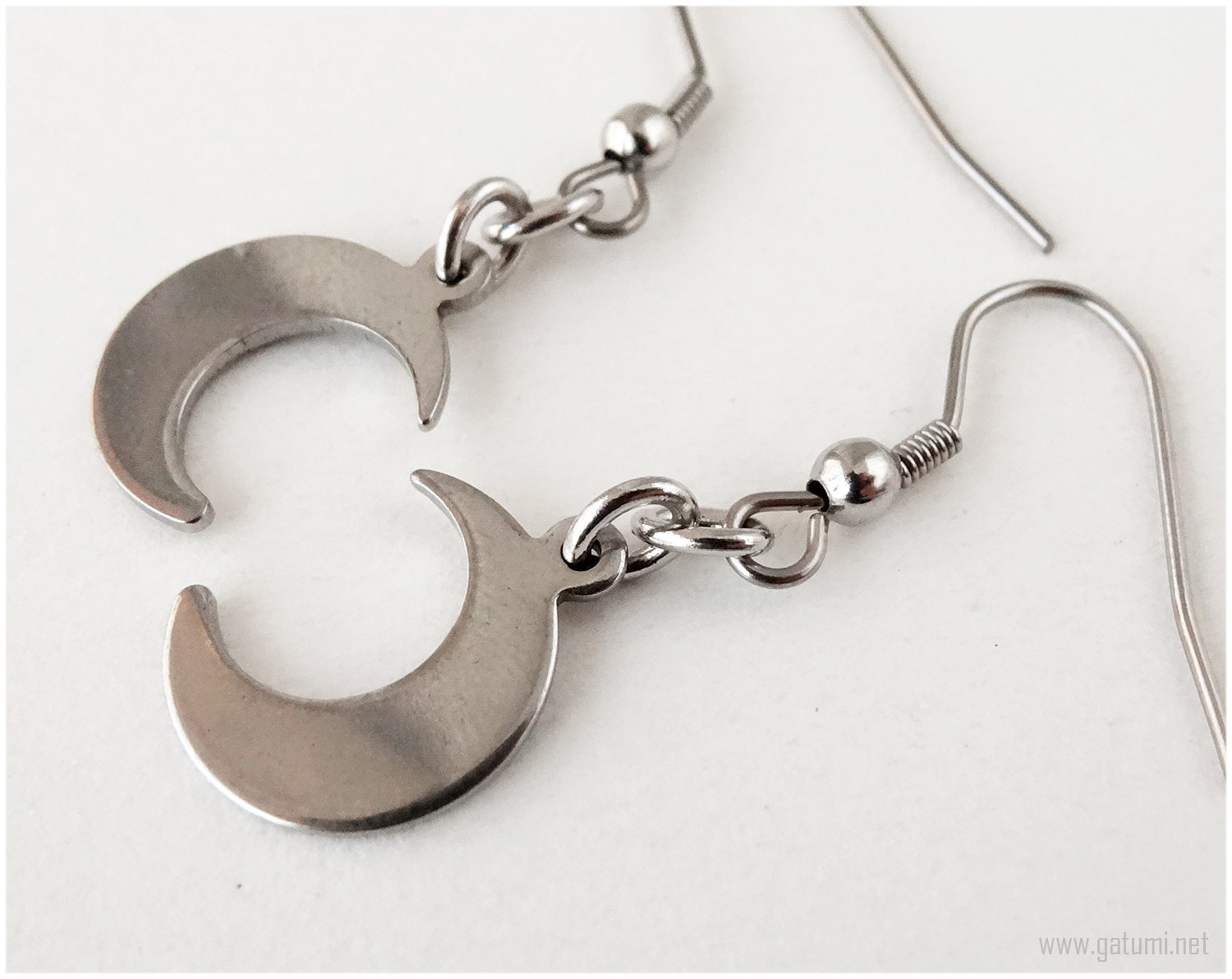Crescent Moon Earrings, Surgical Steel Hooks, Silver, Pastel Goth, Kawaii Jewelr