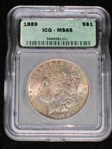 1889 MS 65 Rainbow Toned Certified Morgan Silver Dollar - $369.50