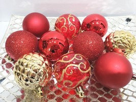 "10 Christmas Red Gold Plastic Glitter Ball Ornaments 2.5"" - $12.99"