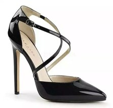 Pleaser Heels SEXY-26 Strappy d'Orsay Closed Toe dress Pump Black Patent Size 11 - $29.01