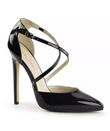 Pleaser Heels SEXY-26 Strappy d'Orsay Closed Toe dress Pump Black Patent... - $29.01