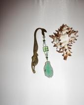 Bronze Mermaid Bookmark,  Green Freeform Agate Charm, Unique Mermaid Gifts - $12.00