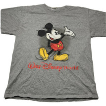 Vintage 90s Y2K Walt Disney World Mens Large Mickey Mouse Graphic T Shirt Gray - $24.68