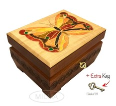 Wooden Butterfly Box Polish Handmade Linden Wood Keepsake Jewelry Box w/... - $41.99