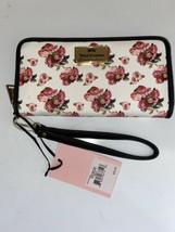 JUICY COUTURE Wallet- Wristlet Zip Around White Rose Print  Single Zip L... - $27.99