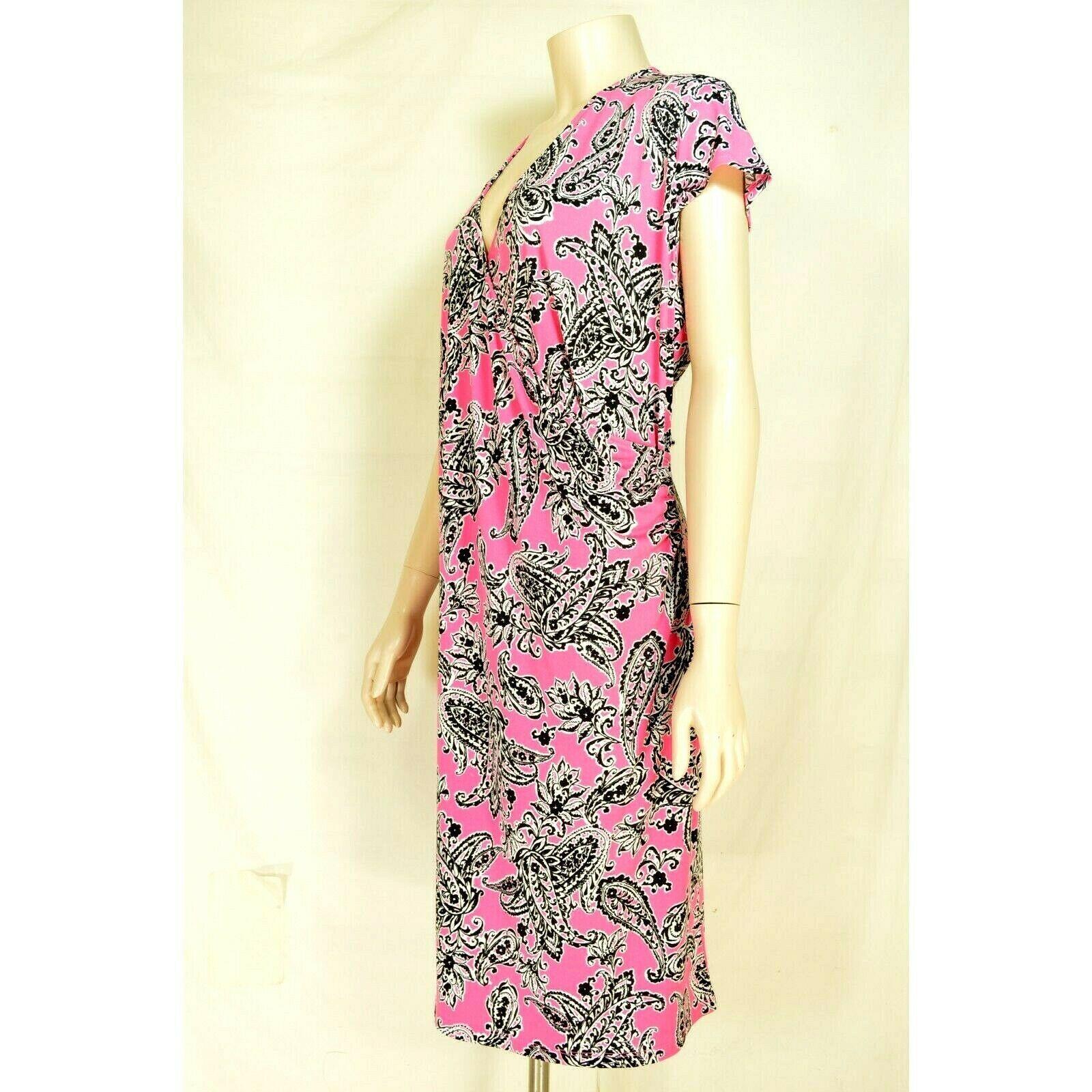 1 Jones New York dress 2X NWT faux wrap pink black white paisley jersey knit