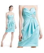 Badgley Mischka Strapless Faux Wrap Ruffle Seaglass Beaded Dress 6 $445 - $87.12