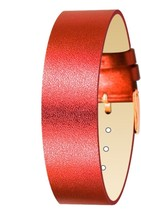Moog Paris Red Calf Leather Bracelet for Women, Metallic Pattern, Pin Cl... - $41.74
