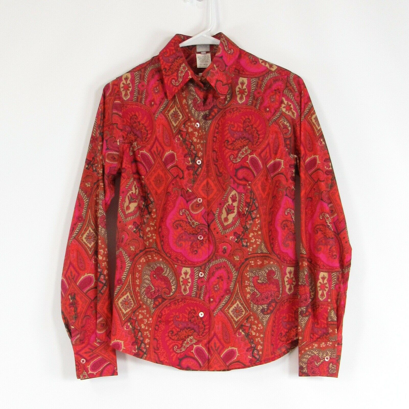 Primary image for Dark pink orange paisley CRAIG TAYLOR long sleeve button down blouse XS