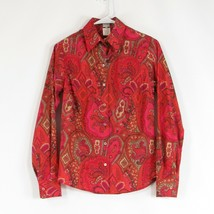 Dark pink orange paisley CRAIG TAYLOR long sleeve button down blouse XS - $34.99