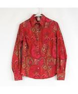 Dark pink orange paisley CRAIG TAYLOR long sleeve button down blouse XS - $34.99