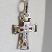 18K ROSE WHITE GOLD CROSS, SHINY BRIGHT AND SATIN, 1.06 INCHES, MADE IN ITALY image 3