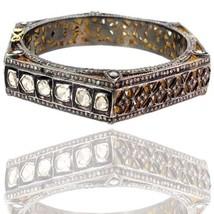 14k Gold Pave Natural 7.85ct Rose Cut Diamond Bangle Bracelet 925 Silver Jewelry - $1,839.09