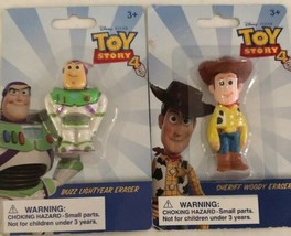 Toy Story Buzz Lightyear And Sheriff Woody Eraser Figures - $14.50