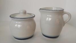 Pfaltzgraff SKY Pattern Sugar Bowl and Creamer Set Pair Blue Trim Rings - $22.76