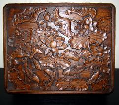 Estate Vintage XL large big wooden carved Koi Fish Lotus Flower wedding ... - $952.17