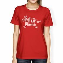 Fur Mama Women's Red Short Sleeve Top Unique Design Graphic T-Shirt - $15.42