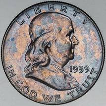 1959-P FRANKLIN SILVER HALF DOLLAR VIBRANT BLUE COLOR TONED BU UNC CHOIC... - $197.99